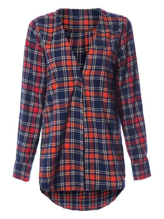 trendy Plunging Neck Plaid Print Blouse - CHECKED XS