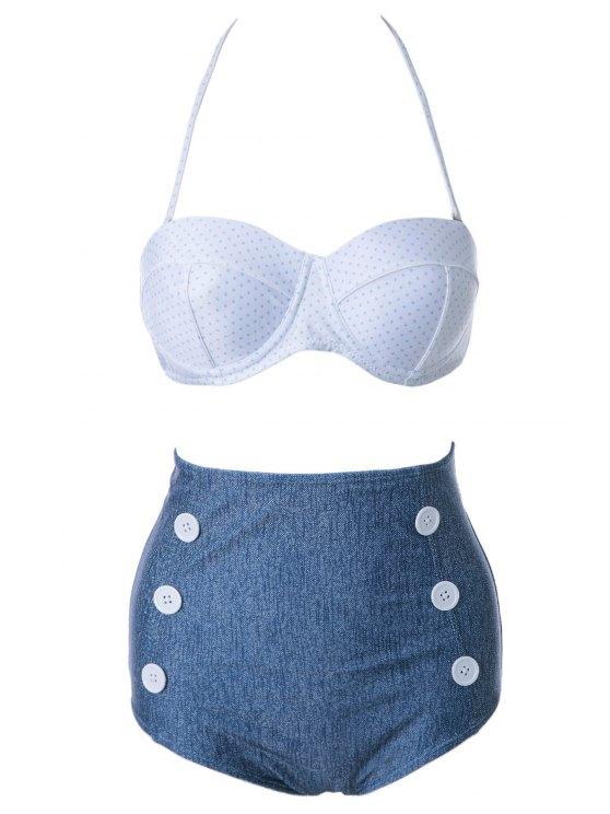 women Polka Dot High Waist Bikini Set - WHITE S