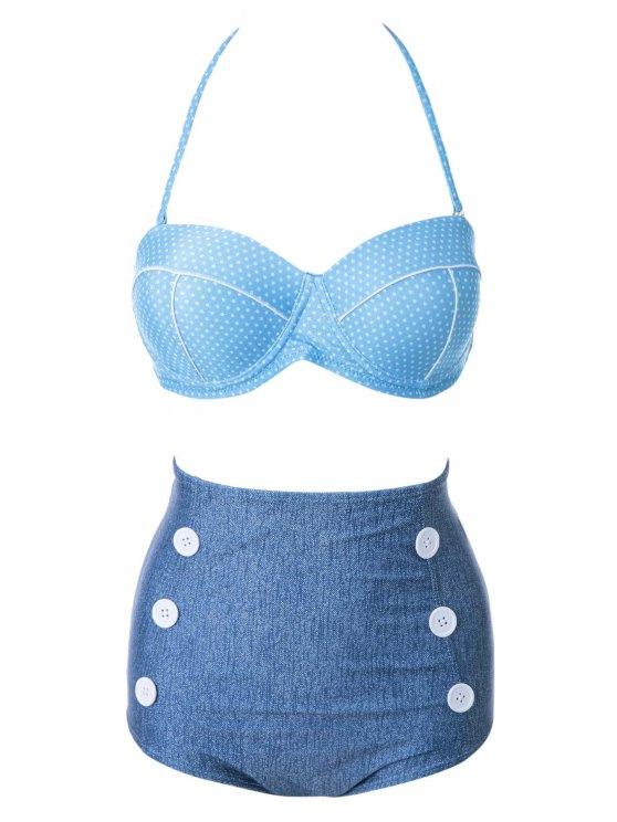 women's Polka Dot High Waist Bikini Set - BLUE S