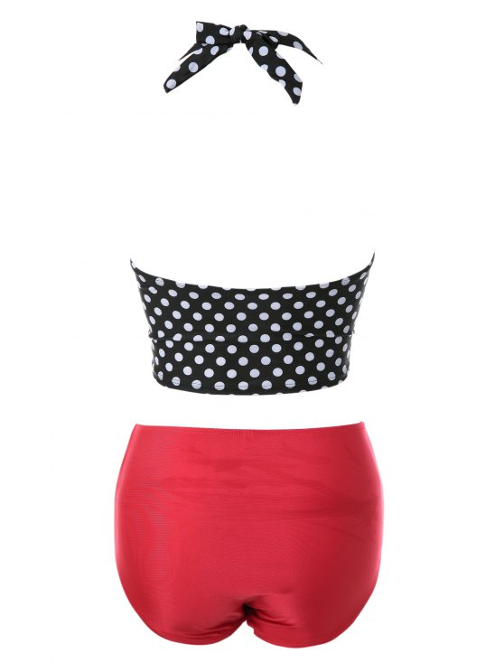 Polka Dot Bandage Vintage Bikini Set - BLACK AND WHITE AND RED XL Mobile