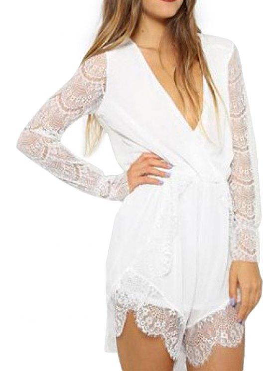 new Solid Color Lace Long Sleeve Romper - WHITE S