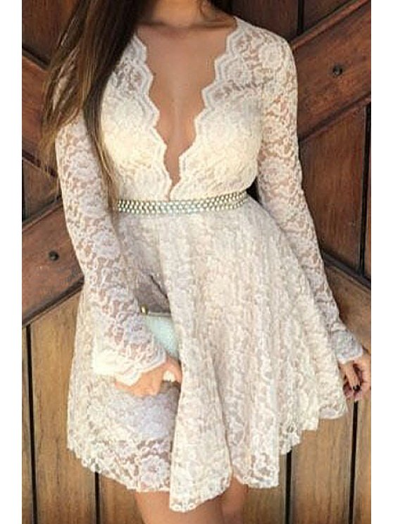 fashion Lace Solid Color  Faux Pearl Dress - WHITE S