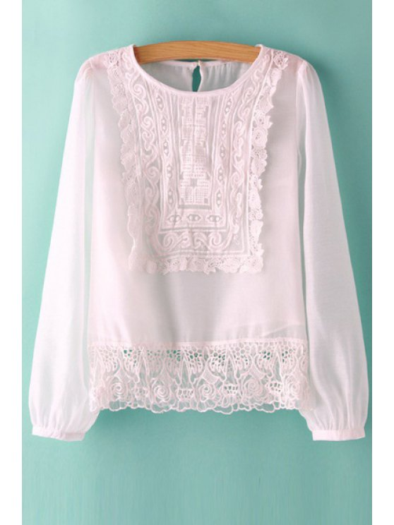 outfit Crochet Flower Splicined Blouse - WHITE S