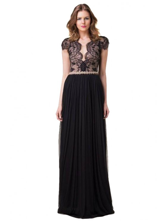 shop Lace Splicing Backless Pleated Dress - BLACK S