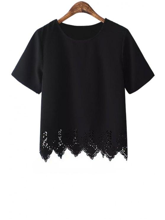 shops Hollow Hem Short Sleeve T-Shirt - BLACK S