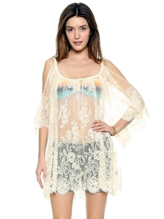 sale Off-The-Shoulder See-Through Lace Dress - WHITE S