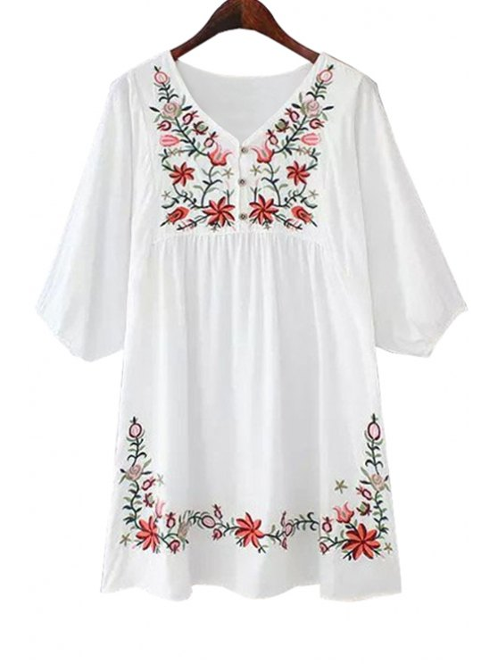 chic Floral Embroidery Half Sleeves Dress - WHITE ONE SIZE(FIT SIZE XS TO M)