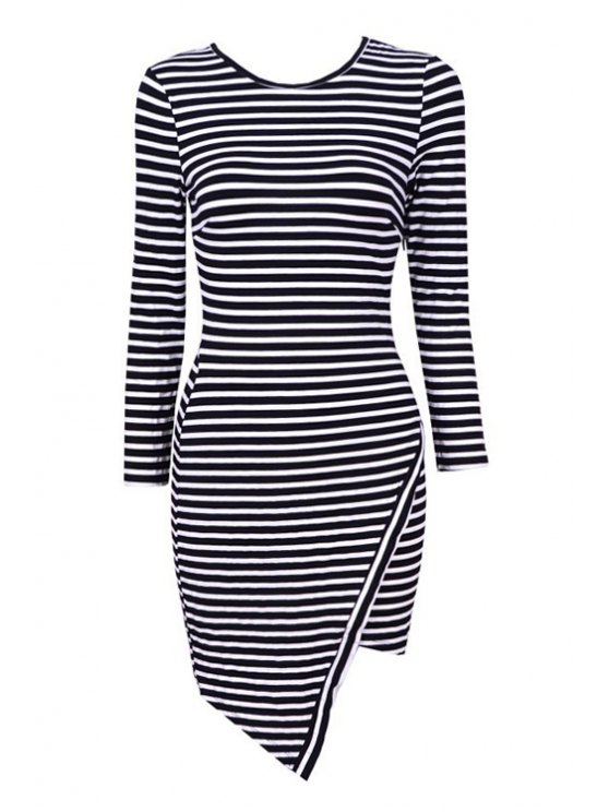 trendy Stripe Asymmetrical Long Sleeve Dress - BLACK XS