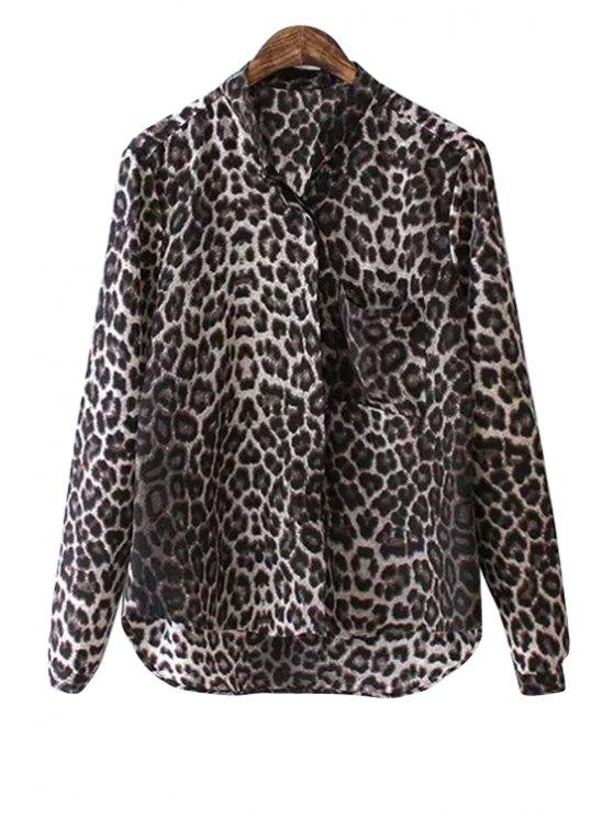 fashion Leopard Print Stand Neck Shirt - LEOPARD S