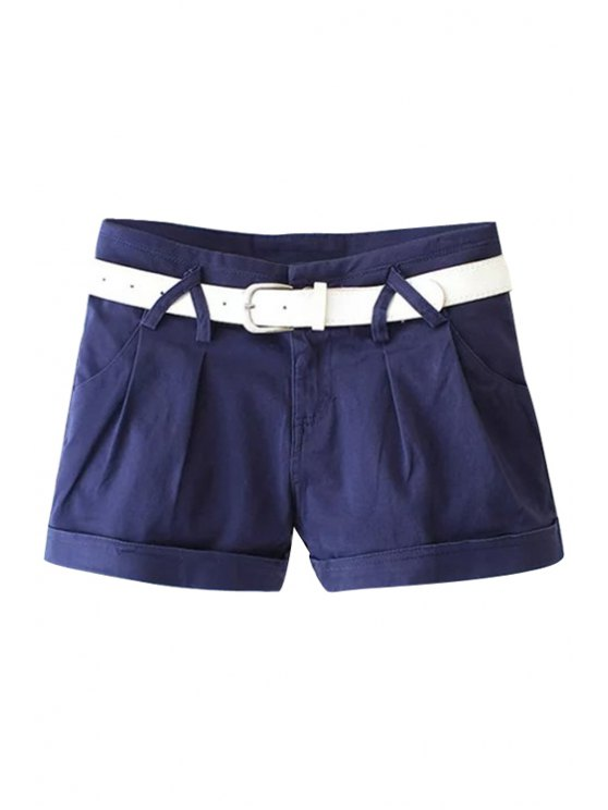 affordable Solid Color with Belt Shorts - BLUE M