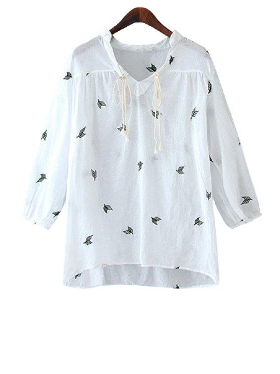 affordable Leaf Embroidery V-Neck Blouse - WHITE S