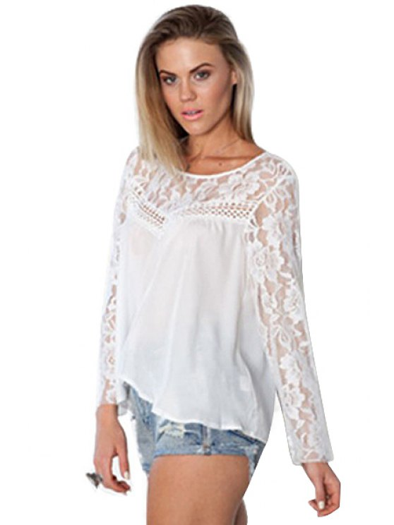 buy See-Through Slit Long Sleeve Shirt - WHITE M
