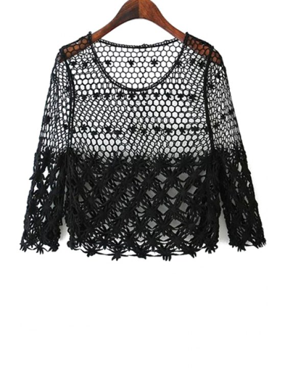 fashion Hollow Out Crochet 3/4 Sleeve Knitwear - BLACK ONE SIZE(FIT SIZE XS TO M)