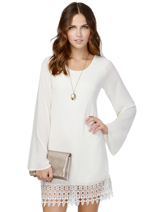 online Solid Color Openwork Long Sleeve Dress - WHITE M