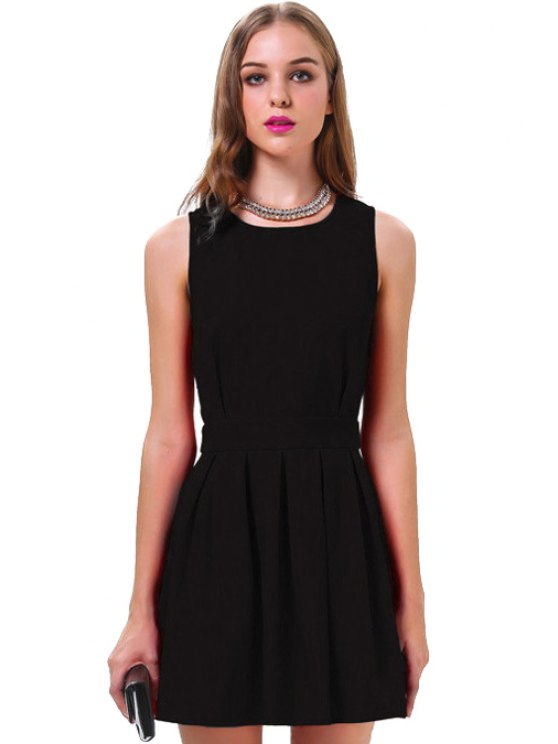 shops Backless Ruffle Solid Color Sleeveless - BLACK S