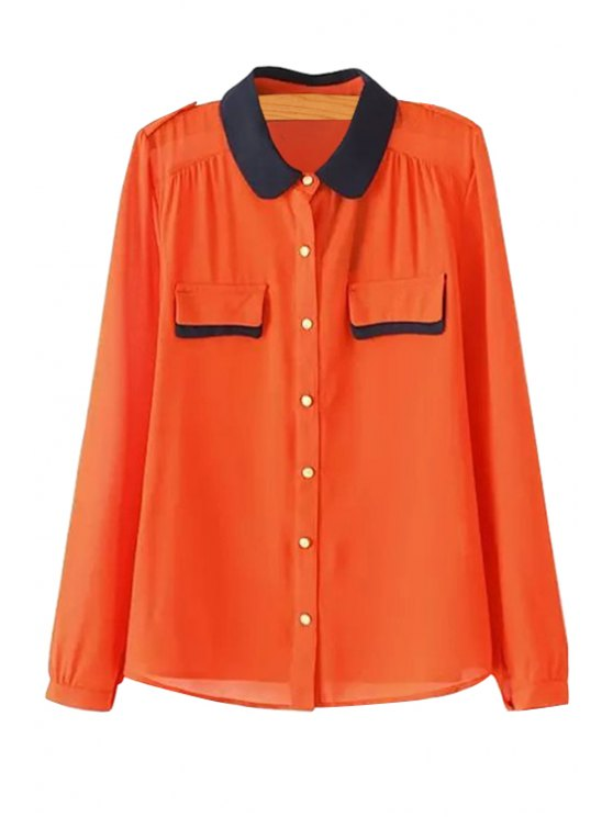 outfit Color Block Chiffon Long Sleeves Shirt - ORANGE S