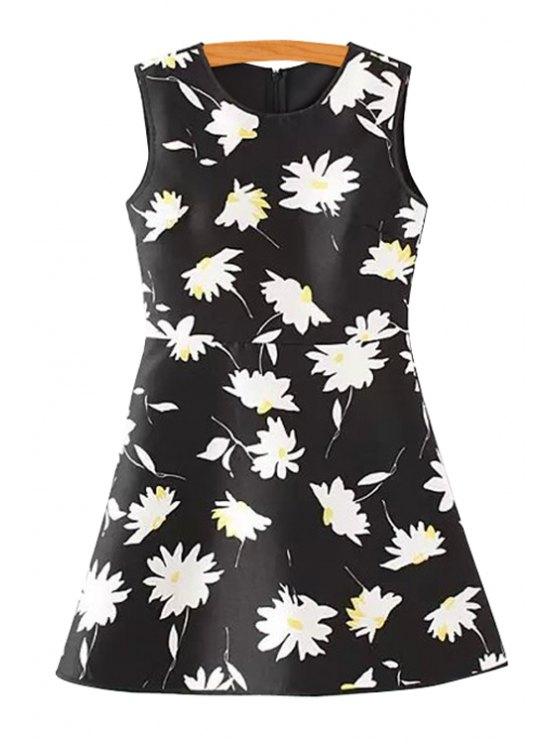 shops Full Flower Print Sundress - WHITE AND BLACK L