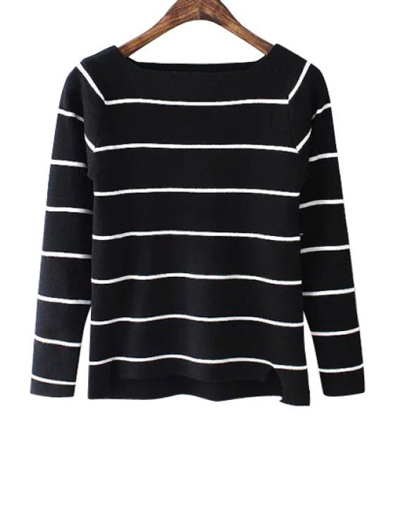 unique Striped Boat Neck Knitwear - BLACK ONE SIZE(FIT SIZE XS TO M)