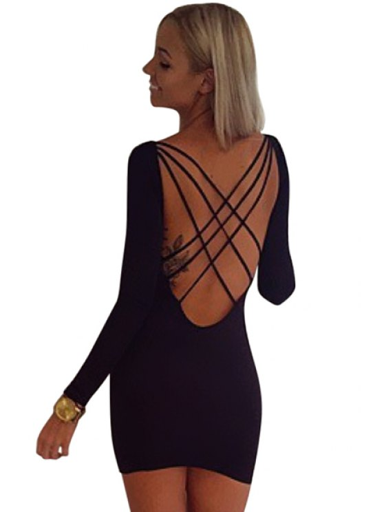 buy Backless Cross Solid Color Dress - BLACK S