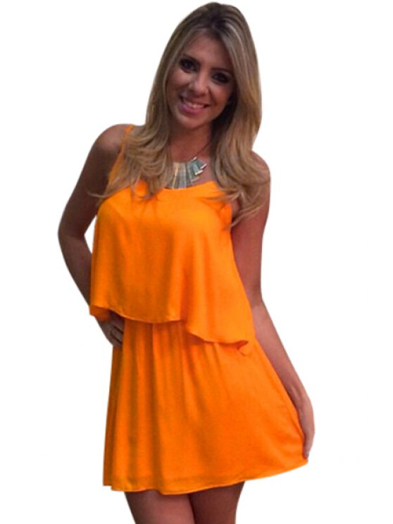 women's Solid Color Asymmetrical Backless Tank Top + Skirt - ORANGE S