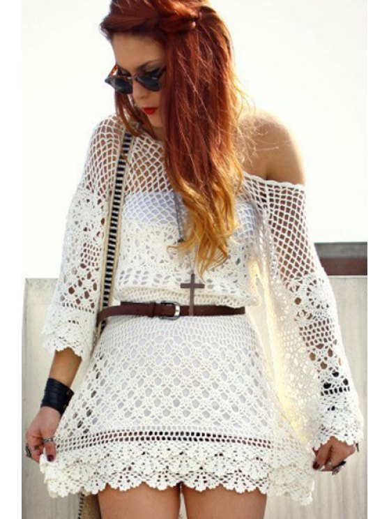trendy Openwork Solid Color 3/4 Sleeve Knitted Dress - WHITE ONE SIZE(FIT SIZE XS TO M)
