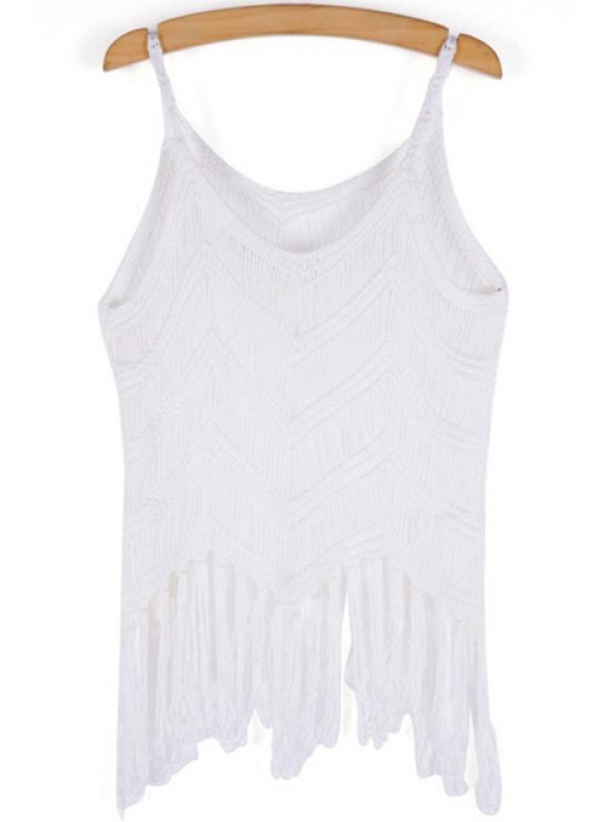 outfits Solid Color Fringe Openwork Tank Top - WHITE ONE SIZE(FIT SIZE XS TO M)