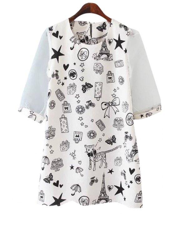 unique Full Print Half Sleeve Dress - WHITE M
