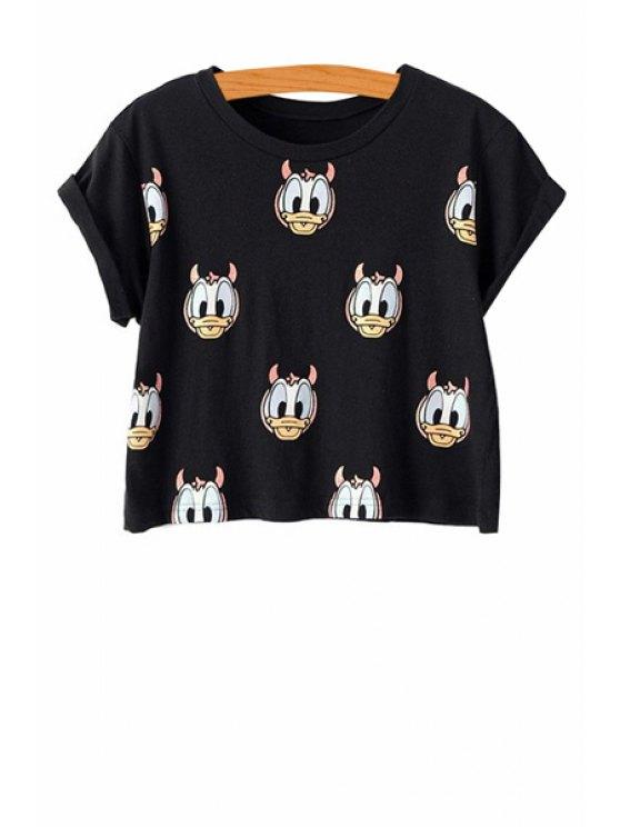 fashion Short Sleeve Cartoon Duck Print T-Shirt - BLACK S