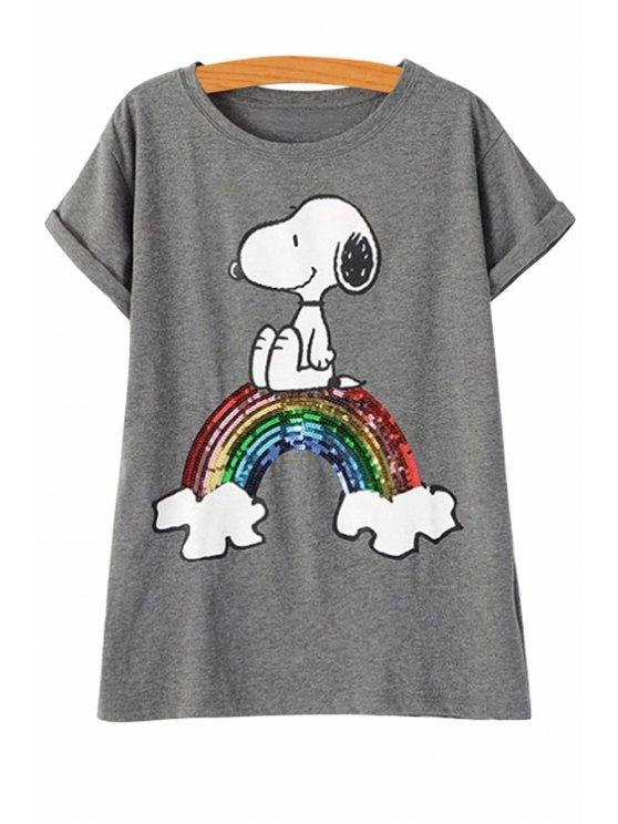 fancy Sequins Rainbow Short Sleeve T-Shirt - GRAY S