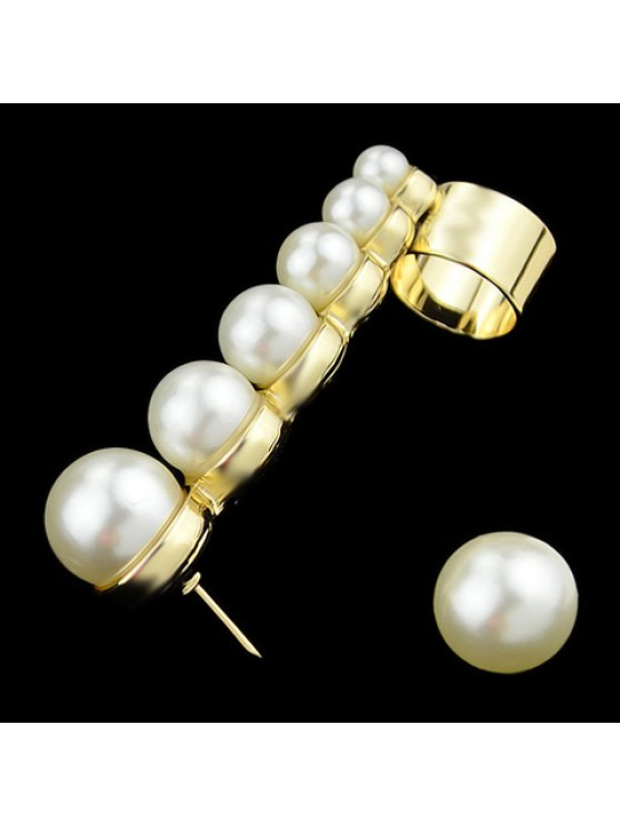 women Pair of Characteristic Punk Style Faux Pearl Decorated Earrings For Women - GOLDEN