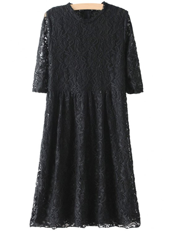 fancy Solie Color Lace Half Sleeve Dress - BLACK ONE SIZE(FIT SIZE XS TO M)