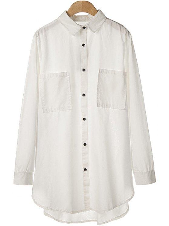 hot Side Zipper Asymmetrical Shirt - WHITE M
