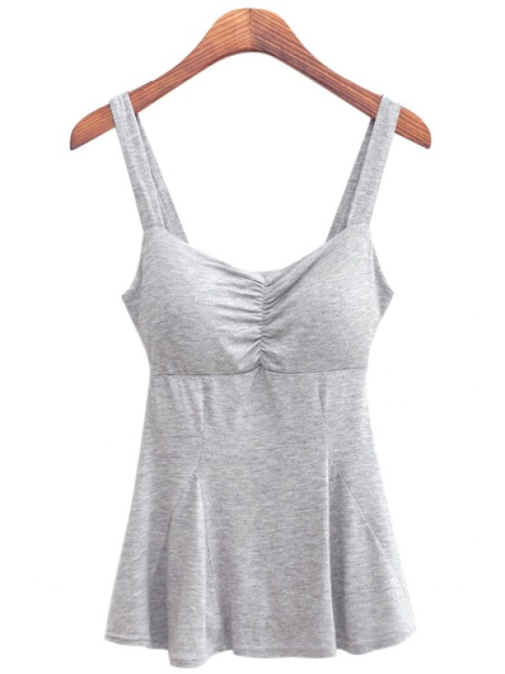 new Gray Straps Flouncing Tank Top - GRAY ONE SIZE(FIT SIZE XS TO M)