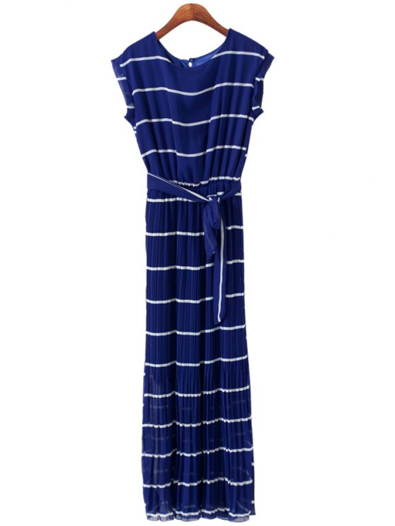 online Striped Pleated Sleeveless Maxi Dress - BLUE M