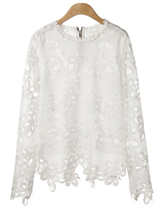 affordable Floral Pattern Openwork Long Sleeve T-Shirt - WHITE ONE SIZE(FIT SIZE XS TO M)