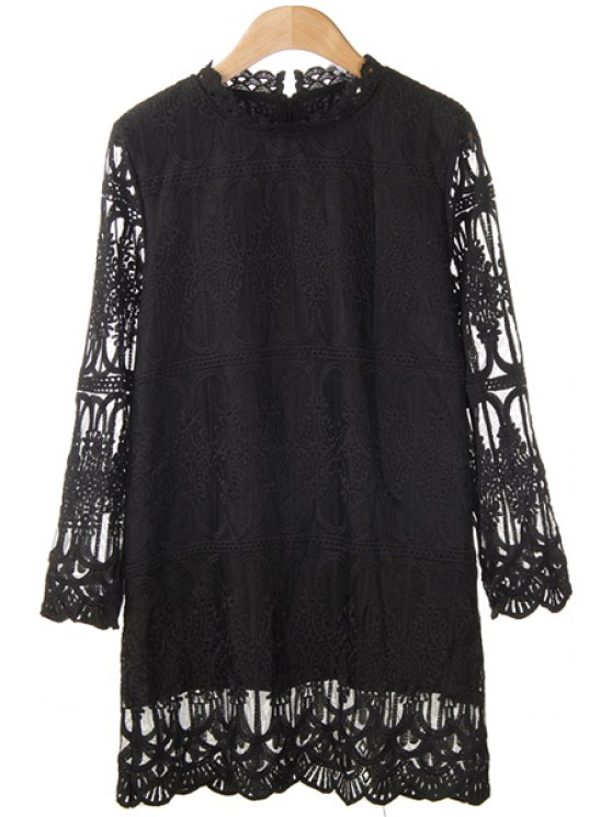 buy Openwork Solid Color Long Sleeve T-Shirt - BLACK ONE SIZE(FIT SIZE XS TO M)