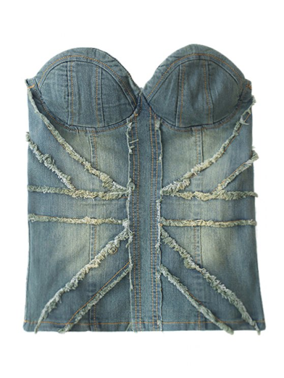 outfits Denim Strapless Bustier - BLUE S