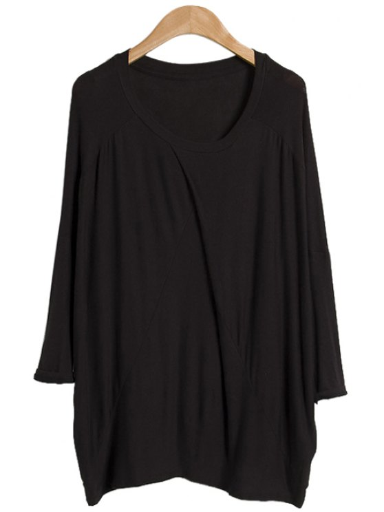 women Scoop Neck Ruffle Solid Color T-Shirt - BLACK ONE SIZE(FIT SIZE XS TO M)