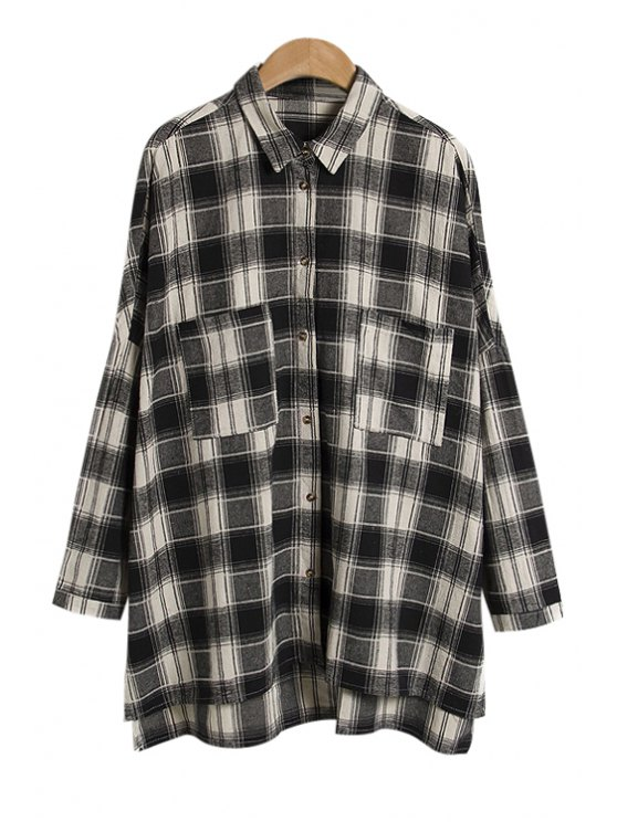 latest Plaid Color Block Asymmetrical Shirt - WHITE AND BLACK ONE SIZE(FIT SIZE XS TO M)