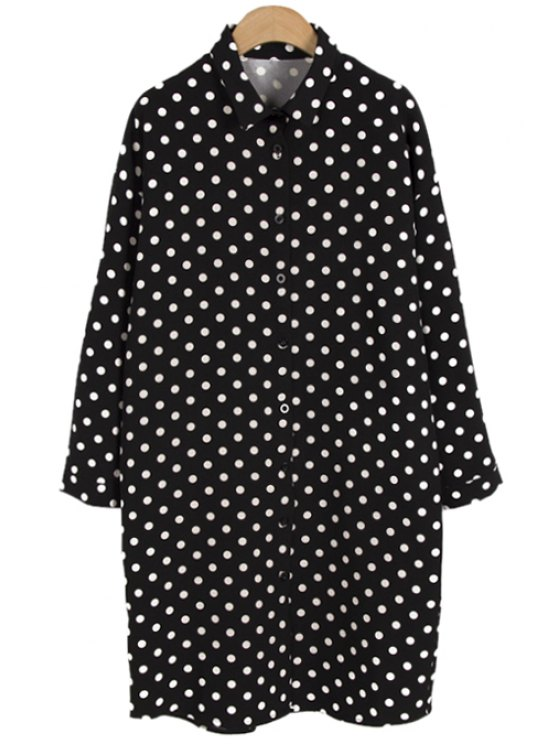 fancy Polo Collar Polka Dot Shirt - BLACK ONE SIZE(FIT SIZE XS TO M)
