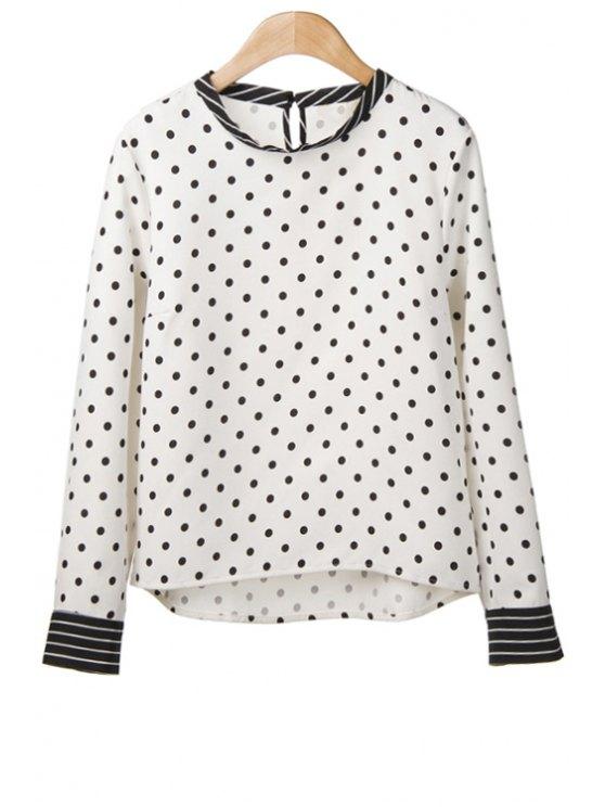 sale Polka Dot Stripe Long Sleeve Shirt - WHITE AND BLACK S