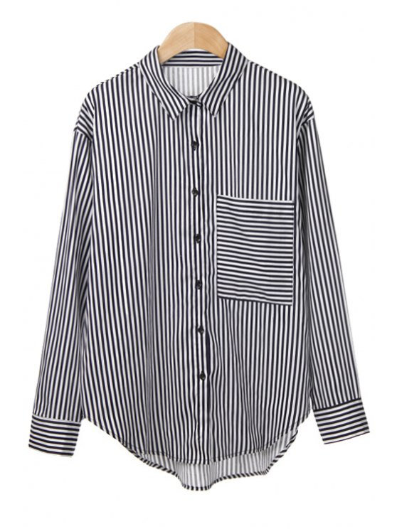 new Asymmetrical Stripe Pocket Shirt - WHITE AND BLACK M
