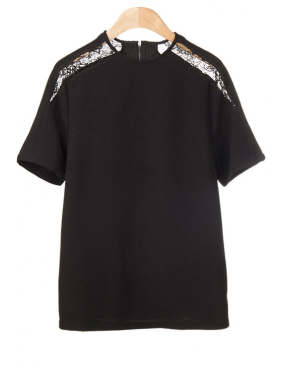 online Solid Color Lace Splicing T-Shirt - BLACK S