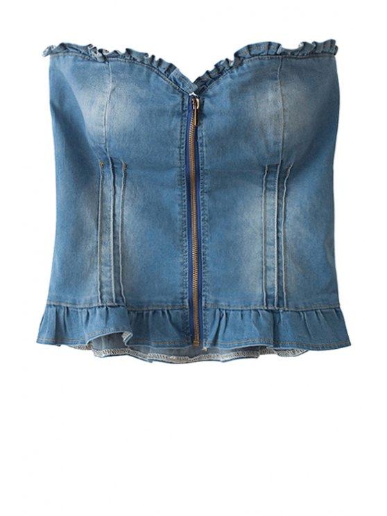 women's Strapless Denim Zipper Bustier - BLUE S