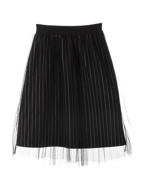 unique Stripe Voile Splicing Elastic Waist Skirt - BLACK ONE SIZE(FIT SIZE XS TO M)