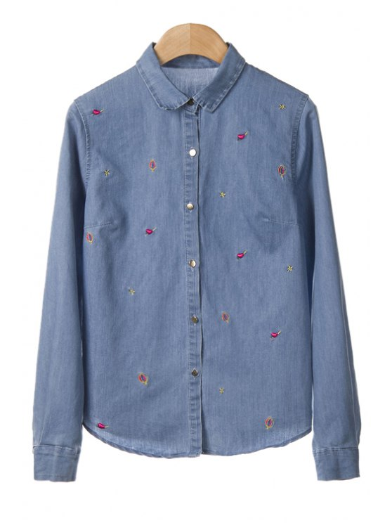 new Embroidery Denim Long Sleeve Shirt - LIGHT BLUE S