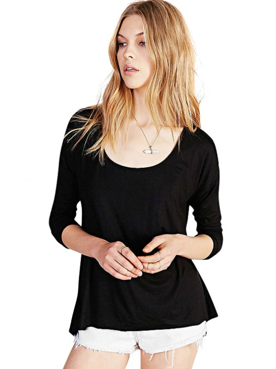 buy Backless Solid Color Asymmetrical T-Shirt - BLACK XS