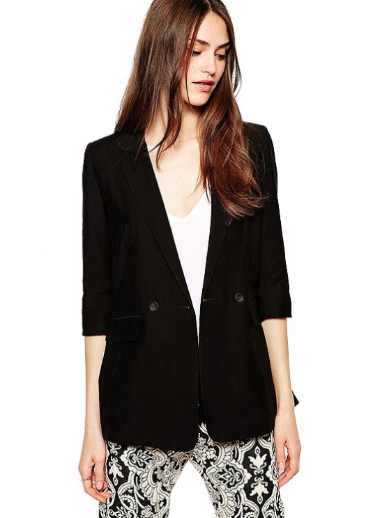fashion Lapel Solid Color Half Sleeve Blazer - BLACK XS