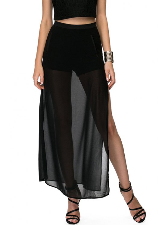 trendy Solid Color Slit See-Through Long Skirt - BLACK XS