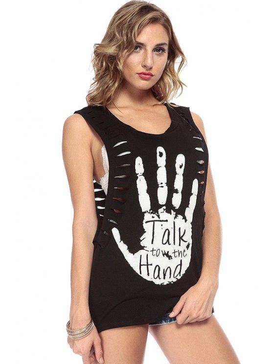 womens Palm Letter Print Openwork Tank Top - BLACK XS